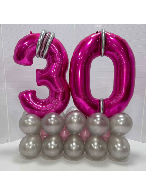 """Two Large Number Balloons on an 11"""" Balloon Box Base"""