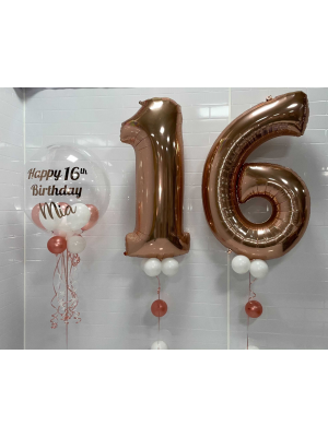 Two Large Number Balloons with a Personalised Clear Bubble Balloon Arrangement